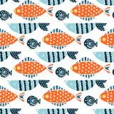 Modèle sans couture de vecteur de bande dessinée colorée de poissons illustration stock