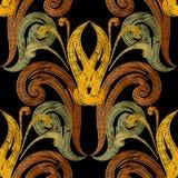 Modèle sans couture de vecteur baroque de broderie La tapisserie a donné à vi une consistance rugueuse illustration de vecteur