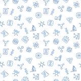Modèle sans couture de vecteur bleu de la génétique dans la ligne style mince illustration de vecteur