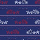 Modèle sans couture de vecteur de chariot royal peu précis de Londres Symbole britannique historique célèbre illustration de vecteur