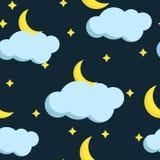 Modèle sans couture de vecteur coloré avec la lune et les nuages illustration libre de droits