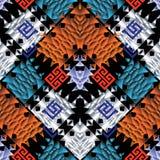 Modèle sans couture de vecteur coloré tribal La tribu géométrique 3d soutiennent Images stock