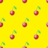 Modèle sans couture de vecteur d'été avec les cerises rouges sur le bbackground jaune illustration stock