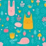 Modèle sans couture de vecteur d'amis de forêt Badine le fond bleu avec les animaux, les oiseaux et les plantes mignons illustration stock