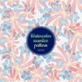 Modèle sans couture de vecteur d'aquarelle avec les fleurs roses et bleues photo stock