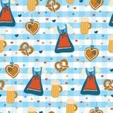 Modèle sans couture de vecteur d'Oktoberfest de robe de Dirndl illustration libre de droits
