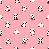 Modèle sans couture de vecteur : modèle d'ours panda sur le fond rose-clair illustration de vecteur