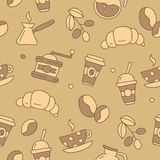 Modèle sans couture de vecteur de café d'icône Photo libre de droits