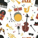 Modèle sans couture de vecteur de conception d'instrument de musique de partie de musique de jazz-band de mode Image libre de droits