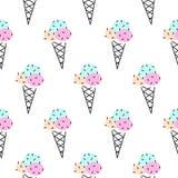 Modèle sans couture de vecteur de cornet de crème glacée Rose et noir d'art de bruit Photo stock