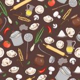 Modèle sans couture de vecteur de cuisine et de nourriture Photo stock