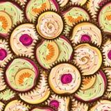 Modèle sans couture de vecteur de différents gâteaux Photos stock
