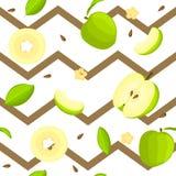 Modèle sans couture de vecteur de fruit lumineux Fond rayé de zig-zag avec les pommes vertes Delicious, entières, tranche, demi Photographie stock