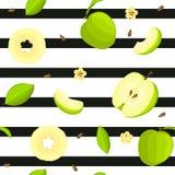 Modèle sans couture de vecteur de fruit lumineux Le fond rayé avec les pommes vertes Delicious, entières, tranche, demi, part Photographie stock libre de droits