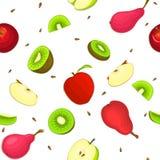 Modèle sans couture de vecteur de fruit mûr de poire de kiwi de pomme Fond blanc avec les pommes juteuses Delicious de kiwi de po Photos libres de droits