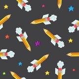 Modèle sans couture de vecteur de la crayon-fusée Image libre de droits