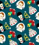 Modèle sans couture de vecteur de mariage avec la jeune mariée, marié, gâteau, fleurs, anneaux Fond sans fin de nouveaux mariés d Photographie stock
