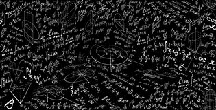 Modèle sans couture de vecteur de maths avec des formules et des chiffres, calculs Texture scientifique éducative sans fin Images libres de droits