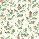 Modèle sans couture de vecteur de nature des feuilles colorées. Illustration Stock