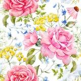 Modèle sans couture de vecteur de rose d'aquarelle illustration libre de droits