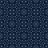 Modèle sans couture de vecteur de dentelle de modèle japonais d'indigo Ornement de grille d'édredon illustration libre de droits