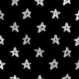 Modèle sans couture de vecteur des étoiles argentées Images libres de droits