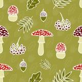 Modèle sans couture de vecteur des champignons toxiques d'amanite Images libres de droits