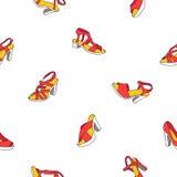 Modèle sans couture de vecteur des chaussures femelles rouges et jaunes Photographie stock libre de droits