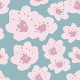 Modèle sans couture de vecteur des fleurs de cerisier de ressort sur le fond de bleu de ciel illustration libre de droits