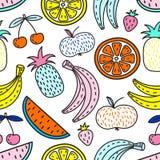 Modèle sans couture de vecteur des fruits Humeur d'été Photo stock