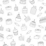 Modèle sans couture de vecteur des gâteaux noirs et blancs avec des bougies illustration libre de droits