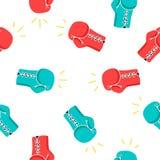 Modèle sans couture de vecteur des gants de boxe Image stock