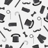 Modèle sans couture de vecteur des icônes des messieurs Image stock
