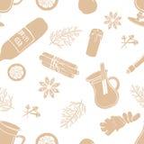 Modèle sans couture de vecteur des ingrédients de vin chaud images libres de droits