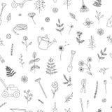 Modèle sans couture de vecteur des outils de jardin noirs et blancs illustration stock