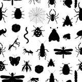 Modèle sans couture de vecteur des silhouettes noires d'insectes illustration libre de droits
