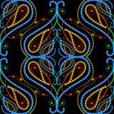 Modèle sans couture de vecteur floral coloré de Paisley Tiré par la main fleurs de Paisley de filigrane de schéma, courbes, forme illustration de vecteur