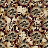 Modèle sans couture de vecteur floral du Grec 3d Backgroun de beige de vintage Image libre de droits