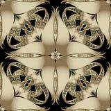 Modèle sans couture de vecteur floral fleuri de l'or 3d Ornamenta de vintage illustration libre de droits