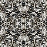 Modèle sans couture de vecteur floral noir et blanc baroque Fond texturisé ornemental de dentelle Antiquité victorienne baroque d illustration de vecteur