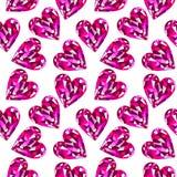 Modèle sans couture de vecteur, fond chaotique avec les pierres gemmes roses lumineuses sous forme de coeurs illustration libre de droits