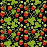 Modèle sans couture de vecteur de fraise sur le fond noir illustration stock