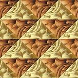 Modèle sans couture de vecteur géométrique abstrait de l'or 3d illustration stock