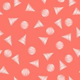 Modèle sans couture de vecteur géométrique moderne simple - triangles et cercles illustration stock