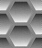 Modèle sans couture de vecteur géométrique rayé abstrait d'hexagones Images libres de droits