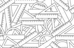 Modèle sans couture de vecteur graphique avec des accessoires de kit d'école : triangles, rapporteurs d'angle et règles illustration de vecteur