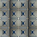 Modèle sans couture de vecteur grec à carreaux fleuri de l'or 3d Geometri illustration de vecteur