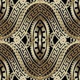 Modèle sans couture de vecteur grec fleuri de luxe de l'or 3d ornemental illustration libre de droits