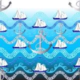 Modèle sans couture de vecteur grec marin Backgr nautique bleu-clair Illustration Libre de Droits