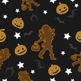 Modèle sans couture de vecteur de Halloween sur le fond de vintage photographie stock libre de droits